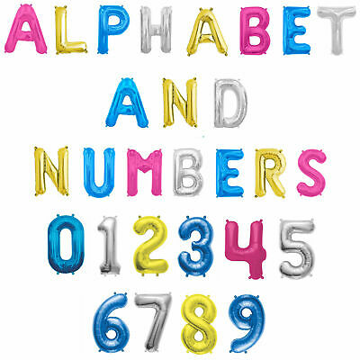 """LETTER BALLOONS 16"""" Air Fill Foil A-Z Any Age Name Number Message 4 COLOURS"""