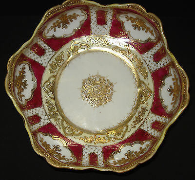 ANTIQUE NIPPON BOWL PORCELAIN HAND PAINTED GOLD GILT MORIAGE BEADED RED JAPAN