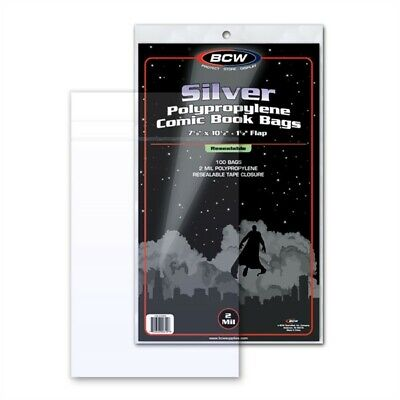 Pack / 100 BCW RESEALABLE Silver Comic Book Acid Free Poly Bags archival sleeves