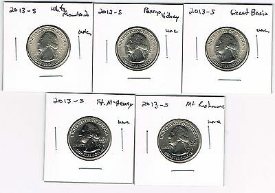 """2013 """"S"""" AMERICA THE BEAUTIFUL NATIONAL PARK QUARTERS - ALL 5 UNC. COINS"""