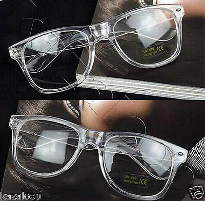 Square Mens Womens Clear Acrylic Transparent frame clear lens Glasses Vintage