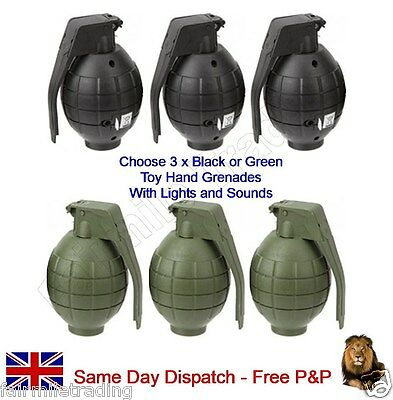 3 x Hand Grenade Flashing Light Sound Toy Army Kids Child Includes Battery