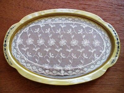 Vintage Vanity Perfume Makeup Tray Lace Inside Glass