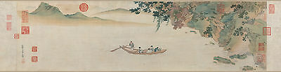 Chinese old scroll painting Water mountain Ming dynasty Red cliff by Qiu Ying