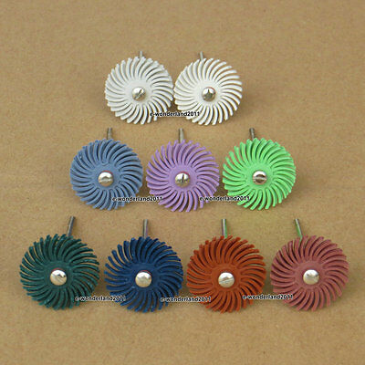 "6Pcs Radial Bristle Discs Brushes 1""  9 Sizes Of Grit For Choosing And 1 Mandrel"