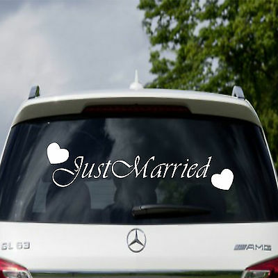 Wedding Sign Just Married Car Window Vinyl Sticker Decal