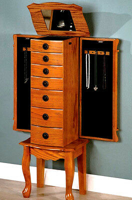 NEW Furniture Mirrored Jewelry Armoire Chest Cabinet Storage w/ Classic Oak Wood