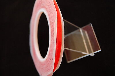 5Mm X 33M Red  Double Sided  Transparent Tape , Ultra Strong