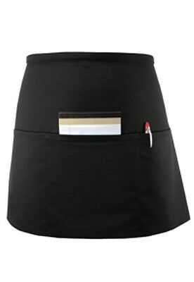 "2 pc BLACK SERVER WAITER WAITRESS 3 POCKET WAIST 15""x 23"" APRON VERY NICE"