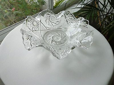 """Pressed Glass Wave Bowl 10"""" Wide"""
