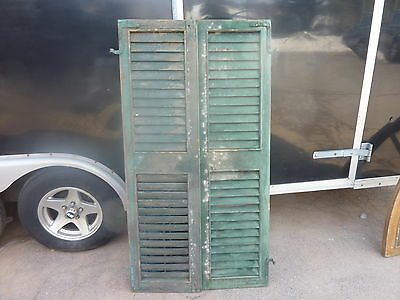 """Pair c1880 victorian louvered house window SHUTTERS GREEN - BLUE 60.5"""" H x 16.5"""""""