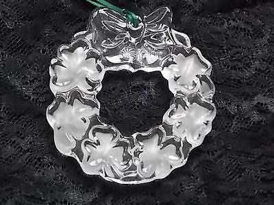GALWAY IRISH CRYSTAL ST. PATRICK'S SHAMROCK WREATH ORNAMENT ETCHED CLEAR GLASS