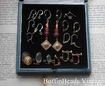 Roman/medieval garnet, carnelian + coral  re-enactment historical EARRINGS 14K