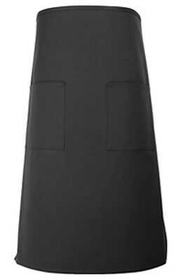 2 Pc Waiter Server Bistro Waist Apron Black  2 Pocket Free Ship