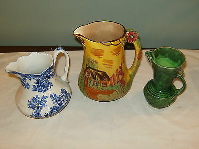 LOT OF 3 VINTAGE ENGLISH POTTERY PITCHER COTTAGE WARE TOCO STOKE COLONIAL