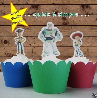 12x Toy Story EDIBLE wafer cupcake cake toppers STANDUP birthday