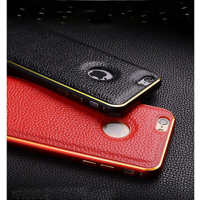 Luxury Leather Back + Metal Bumper Frame Case Cover for iphone 5 5S/6/6 Plus