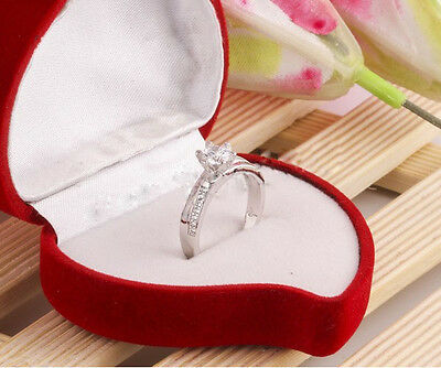 Noble Women Big Shining Crystal white gold filled Wedding Rings Gifts More Size