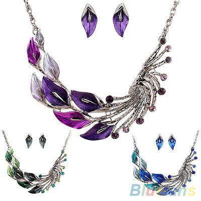 Women's Captivating Leaf Peacock Rhinestone Drop Earrings Necklace Jewelry Set