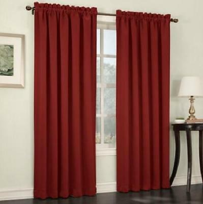 "Brick Red 84"" SET OF 2 ROOM DARKENING ENERGY EFFICIENT CURTAINS PANELS DRAPES"