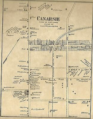 Canarsie Brooklyn  NY 1873 Map with Homeowners Names Shown