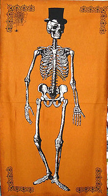 Chillingsworth Skeleton Steampunk Halloween Orange Cotton Fabric By The Panel