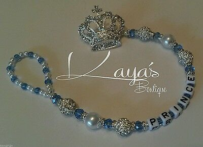 Bling *Diamante Prince Crown* Shamballa Romany Dummy Clip *Any Name* Blue/Black