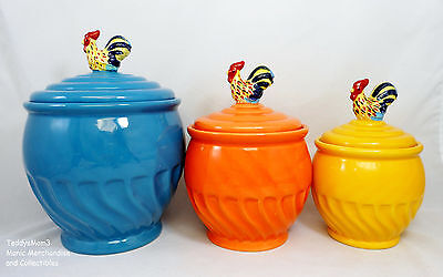 Rooster Canister Set 3 Jars Lids Ceramic Concentric Circles Blue Orange Yellow