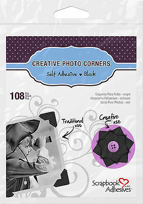 3L 01626 CREATIVE PHOTO CORNERS BLACK, SELF ADHESIVE 108 ea.