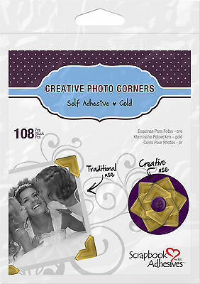 3L 01625 CREATIVE PHOTO CORNERS GOLD, SELF ADHESIVE 108 ea.