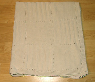 36x40 TL Care Organic Cotton Baby Blanket Cable Knit Ivory Off White Cream