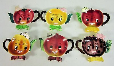 Vintage Anthropomorphic Napco Teabag holders Tea Bag w/ hats  # B2676