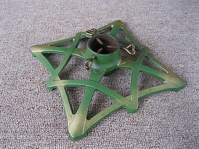 Antique Christmas Feather Tree Stand Primitive Cast Iron, Green Gold Paint