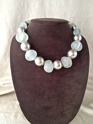 Vintage Signed Robert Lee Morris Sterling Silver & African Glass Bead Necklace
