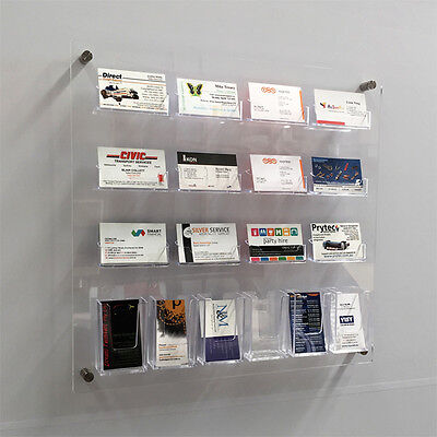 Wall Mounted Business Card Holder Display - 12 Landscape + 6 Portait