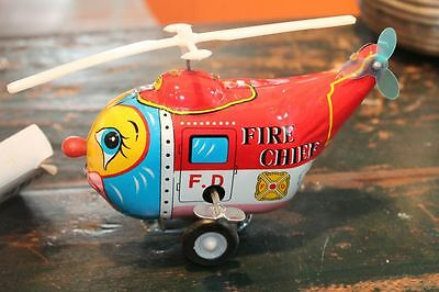 Wind Up * Comic Helicopter Fire Chief * Vintage Tintoy * Mint * Ovp * Korea