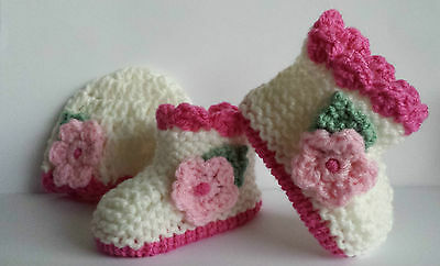 BABYS CREAM/PINK FLORAL HAND KNIT HAT & BOOTIES- NEWBORN - 2-3lb to 6-9 months