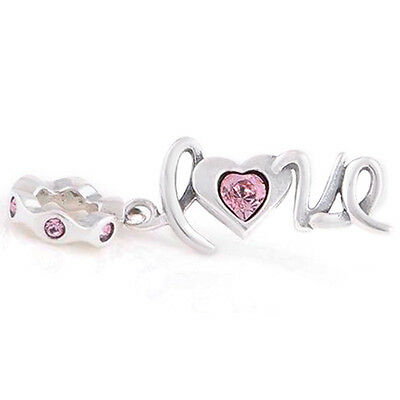 LOVE 925 Solid Sterling Silver Pink Love Heart Dangle Charm Bead for Bracelet