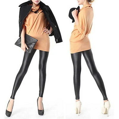 Sexy Women Faux PU Leather Leggings Skinny Pencil Pants Tights Trousers KK