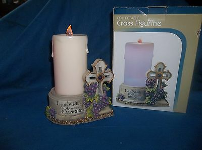COLLECTABLE CROSS FIGURINE WITH FLAMELESS LED LIGHTED CANDLE NEW IN BOX!!