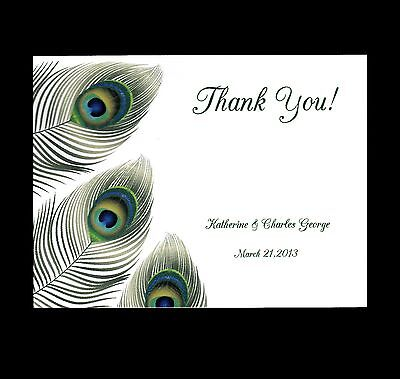 100 Personalized Custom Peacock 4 Bridal Wedding Thank You Cards