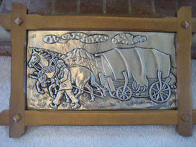 "Huge Antique Germany 29"" x 19"" Embossed Pewter Picture  with Oak Frame Very Nice"