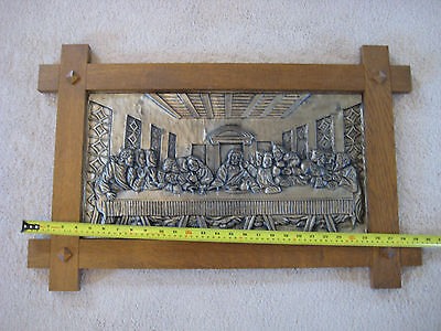 "Huge Antique Germany 29"" x19"" Embossed Pewter Picture ""Last Supper"" W/Oak Frame"