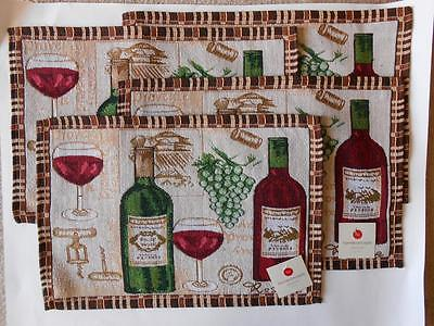 "Set of 4 Tapestry Wine bottles glasses grapes Placemats 13"" x 19"" NWT"