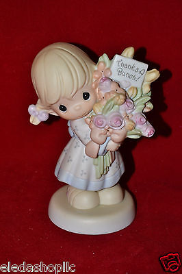 "Precious Moments ""Thanks A Bunch"" C0020 Figurine Girl Bouquet Flowers"