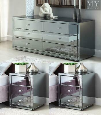 Vegas SMOKE Mirrored bedside Tables and Chest Package - Mirror Furniture