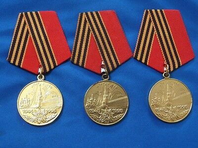 set 3 post-soviet russian medal 50 Years of Victory in the WW2 original