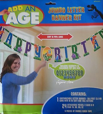 Dinosaur Prehistoric Add Any Age Jumbo Letter Birthday Banner Kit Party Supplies