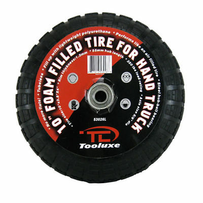 "Flat Free 10"" inch Tire For Hand Truck Dolly Tubeless Steel Hub Foam Filled"