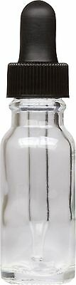 6 Pack Clear Glass Boston Round Bottle w/ Black Glass Dropper 0.5 oz